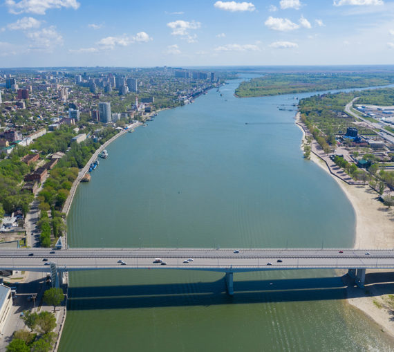 Aerial view of Rostov-on-Don and River Don. Russia